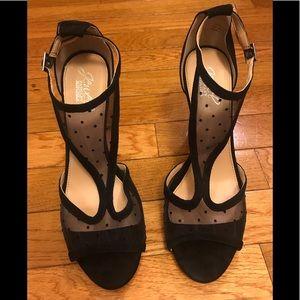 Badgley Mischka Black Mesh Polka Dot Heels Size: 8